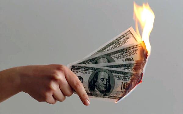 money on fire