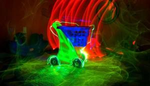 neon shopping cart