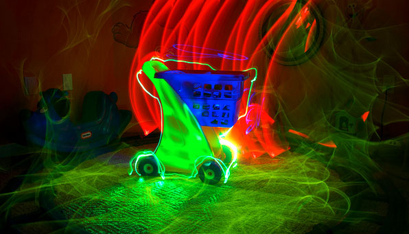 neon shopping cart