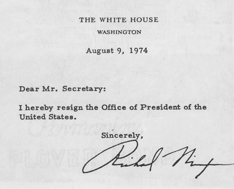 richard nixon resignation letter