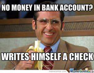 no money in bank account meme