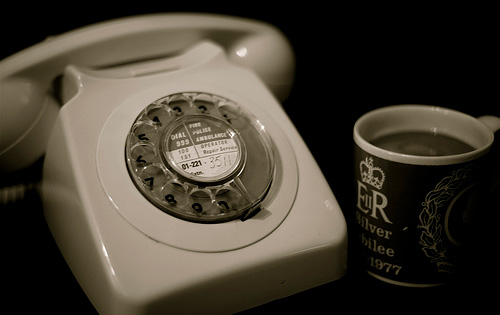 old nostalgic phone & coffee