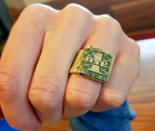 one dollar bill ring