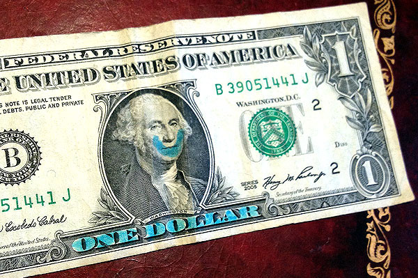 one dollar bill smile