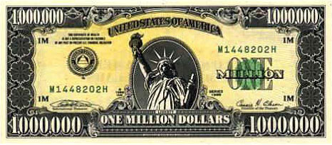 one million dollars dollar bill