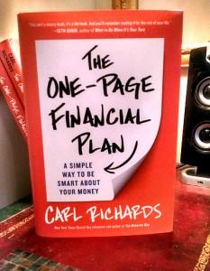one page financia plan book