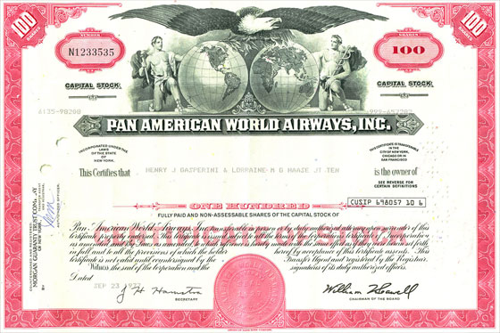 pan am world airways stock certificate