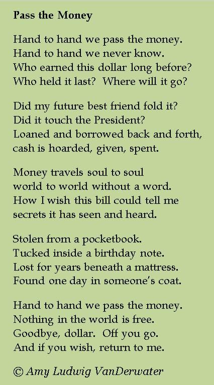 pass the money poem