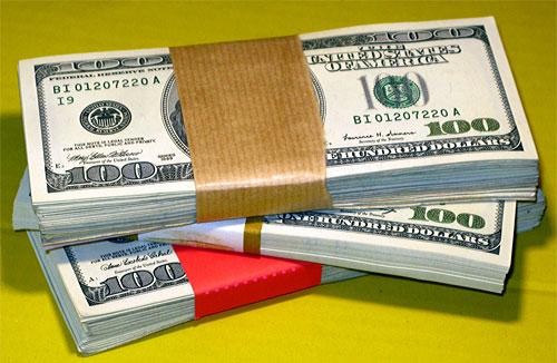pile of cash - hundreds