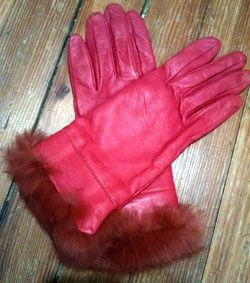 pink leather gloves
