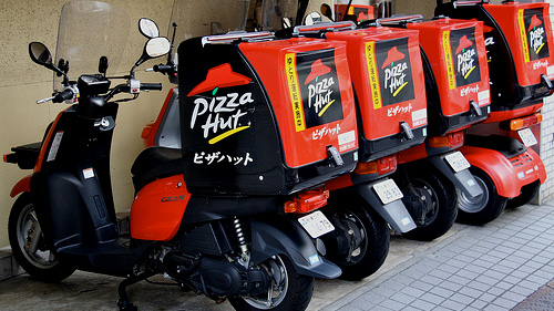 pizza hut delivery bikes