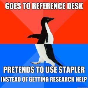 reference desk penguin meme
