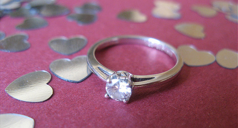 Engagement ring on hearts