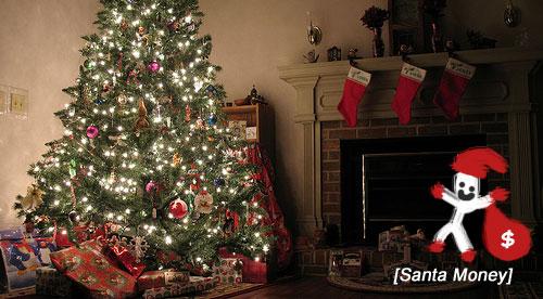 santa money on Christmas