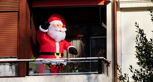 santa waving out of the window
