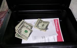 saving dollars in safe