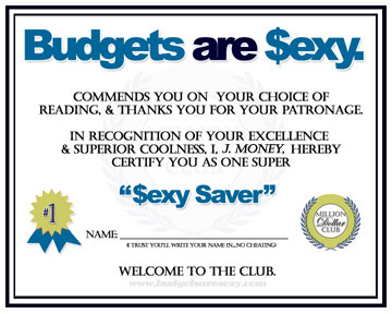 sexy saver certificate!