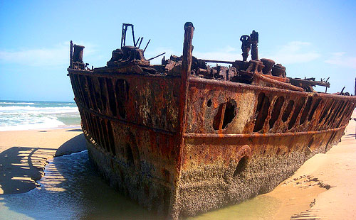 ship wreck on sand