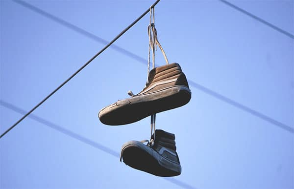shoes hanging on power line