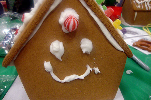 smiley gingerbread house