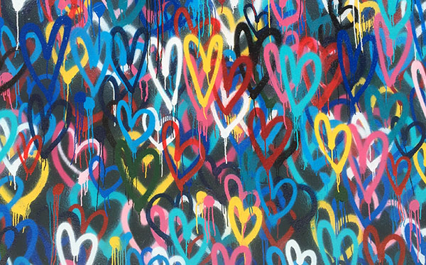 spray painted hearts
