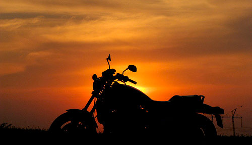 sunset & motorcycle