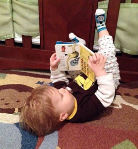 upside down reading baby