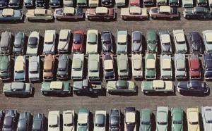 vintage parking lot cars