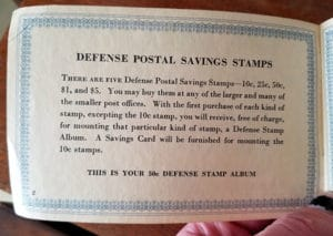 war stamps bond booklet - 50 cents