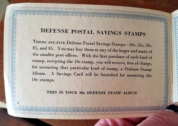 war stamps bond booklet - 50 cents