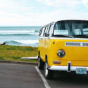 yellow vw bus beach