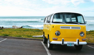 yellow vw bus beach