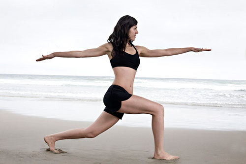 yoga pose beach